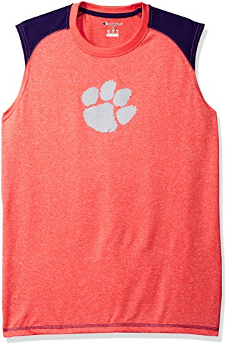 NCAA Clemson Tigers Men's Heather Jersey Colorblocked Muscle T-Shirt, X-Large, Orange Heather