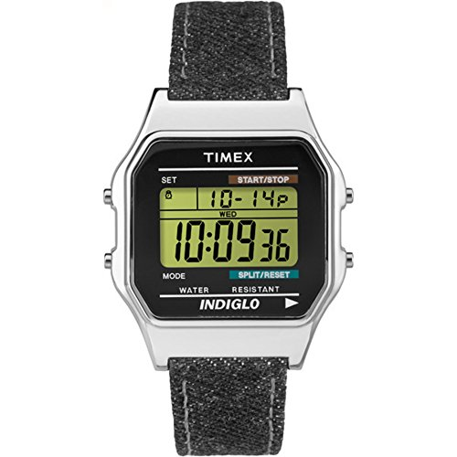 80 | Black Denim-Style Leather Strap Indiglo | Digital Watch - Timex TW2P77100