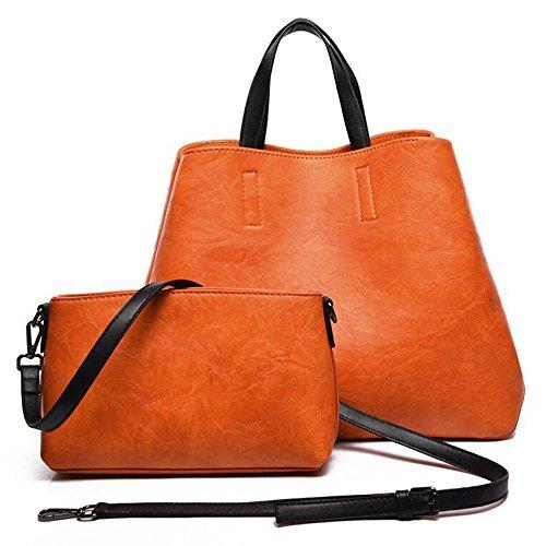 sac 2pcs marron à Set tout une enfant Femmes à bandoulière bandoulière fourre Orange sac orange et grande sac noir unique mère grand petite sac JUNBOSI sac zgEtIxqfwz