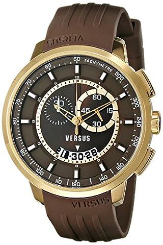 Versus by Versace Men's SGV120014 Manhattan Analog Display Quartz Brown Watch (Gold Versus Watches For Men)