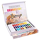 Bianyo Artist Watercolor Paint Set - 30 Vibrant Colors Watercolor Painting Supplies for Kids, Adults, Painters, Artists - With 1 Paint Brush, 1 Water Brush Pen, 8 Pieces Watercolor Papers