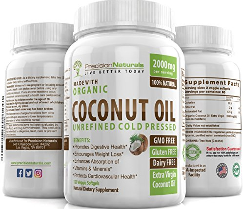 Vegetarian Softgels Organic Coconut Oil Capsules / Pills 2000mg/Serving Virgin Cold Pressed Non GMO for Weight Loss, Extra Hair Growth and Healthy Skin. Best Source Unrefined Pure Coconut Oil