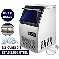 Happybuy Ice Making Machine Commercial 132lb/24h Ice Maker Cube Machine 110V 280W Stainless Steel 58 Cubes for Supermarkets Restaurants Laboratories(132lb/24h)