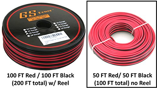 True 20 Ga (American Wire Gauge) 99.9% OFC stranded oxygen free copper, Red / Black 2 Conductor Bonded Zip Cord Power / Speaker Cable for Car Audio, Home Theater, LED - Power Cable 10 Ga Wire