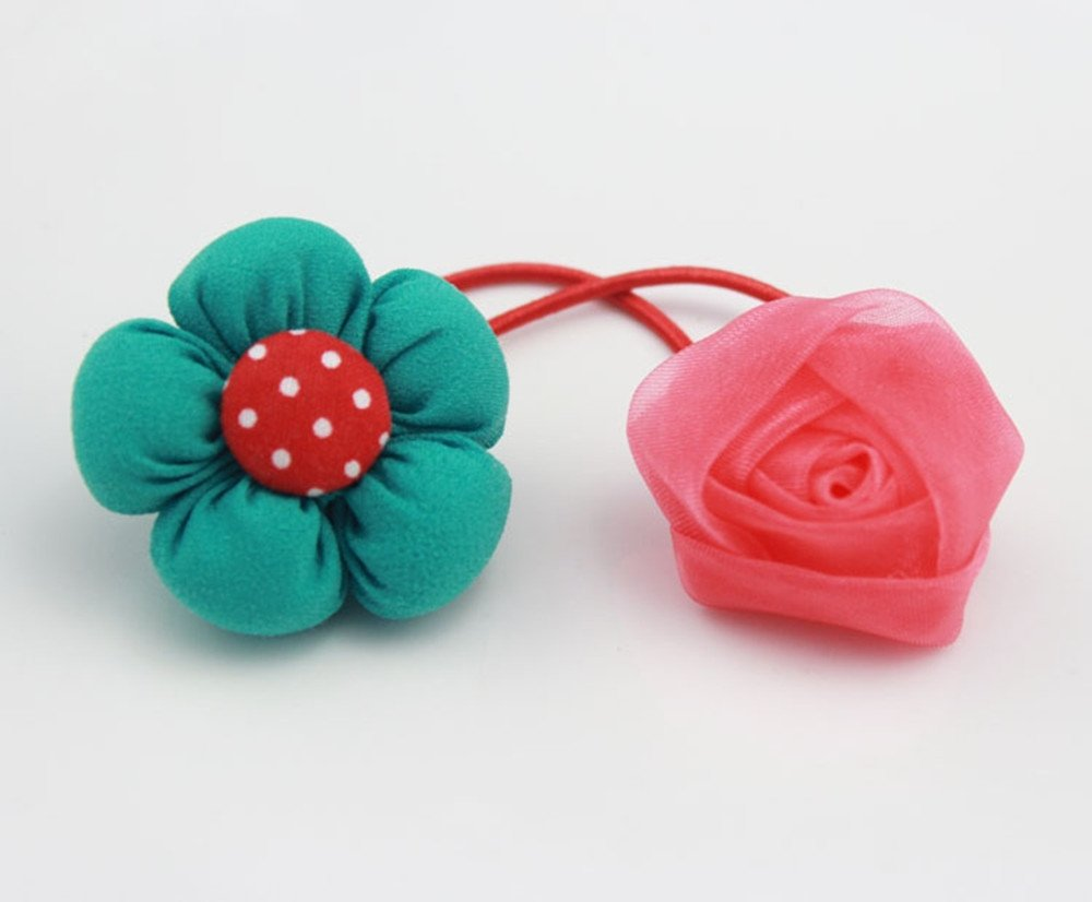 cuhair 2pcs Gauze Flower Green Sunflower Design For Kids Girl Ponytail Holders Elastic Hair Tie Assorted Hair Band Accessories
