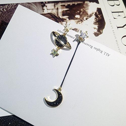 TKHNE 装飾的 穏やかな夜のゲーム 月と星 非対称の耳クリップ イヤリング アクセサリー イヤリング ジュエリー ポータブル