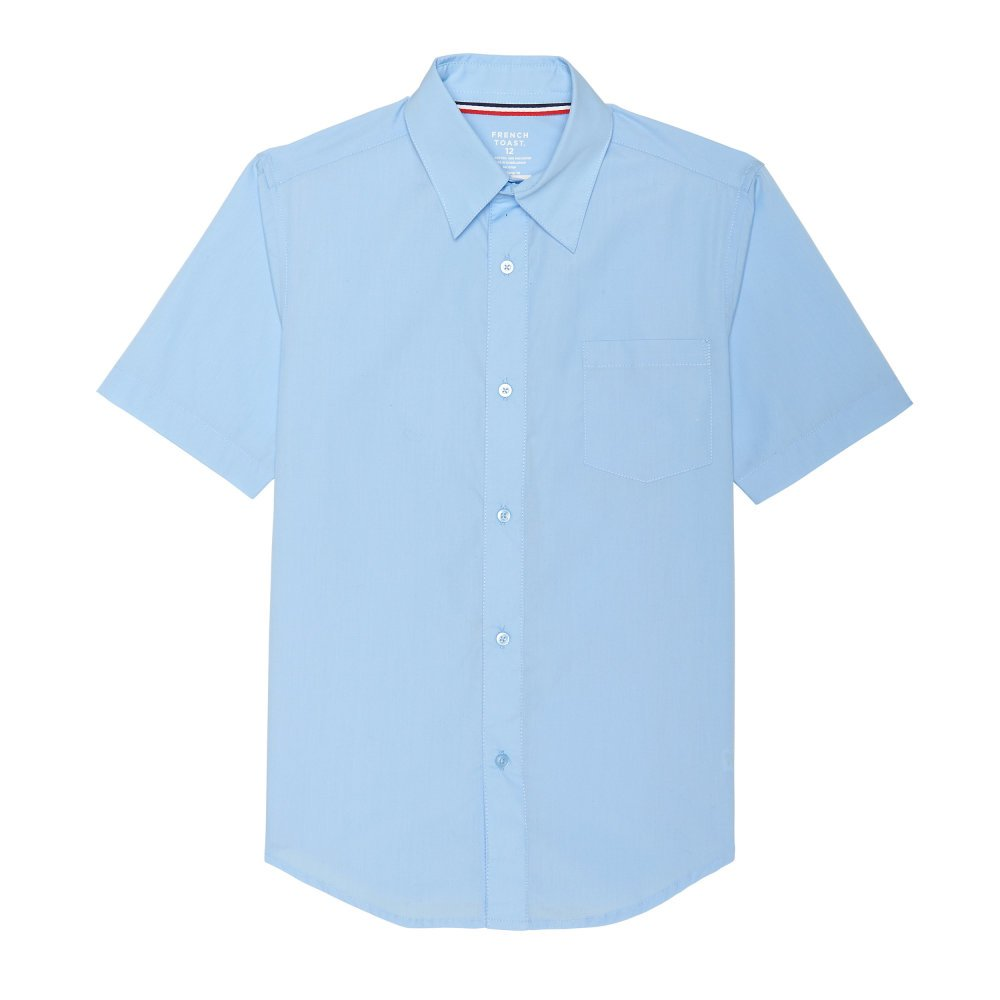 French Toast Boys' Husky Short Sleeve Classic Dress Shirt, Light Blue, 12H