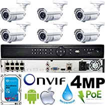USG Business Grade 4MP 2592x1520 6 Camera HD Security System : 16 Channel 6MP Security NVR + 6x Bullet Telephoto 5-50mm 10x Zoom Cameras + 1x 2TB HDD : Apple Android Phone App