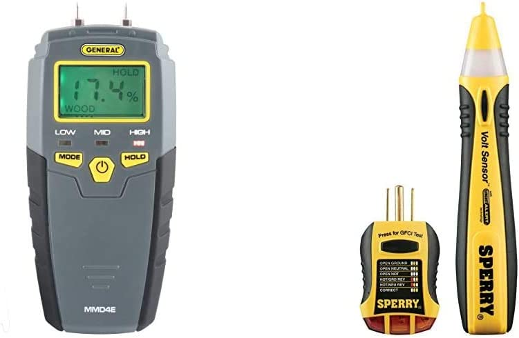 General Tools MMD4E Digital Moisture Meter, Grays & Sperry Instruments STK001 Non-Contact Voltage Tester & GFCI Outlet/Receptacle Tester Kit, Electrical AC Voltage Detector, Yellow & Black