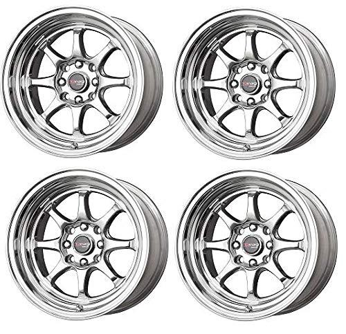 Drag Wheels Dr-54 15X7.5 4x100 4x114.3 Polished 0 Offset Rims x4 (4 Wheel Polished Lug)