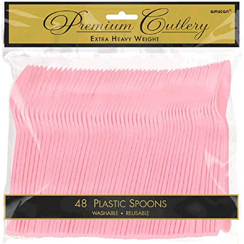 - amscan Heavyweight New Pink Plastic Spoons, 48 Ct.