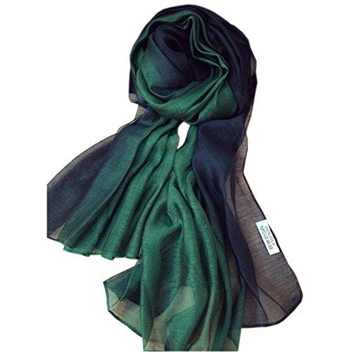 Unilove Summer Silk Scarf Gradient Color Long Lightweight Sunscreen Shawls for Women (Dark Green)