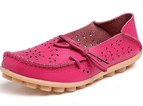 Wenhong Chaussures De Conduite Pour Femmes Cuir De Vachette Mocassins À Lacets Chaussures Bateau Chaussures Rose