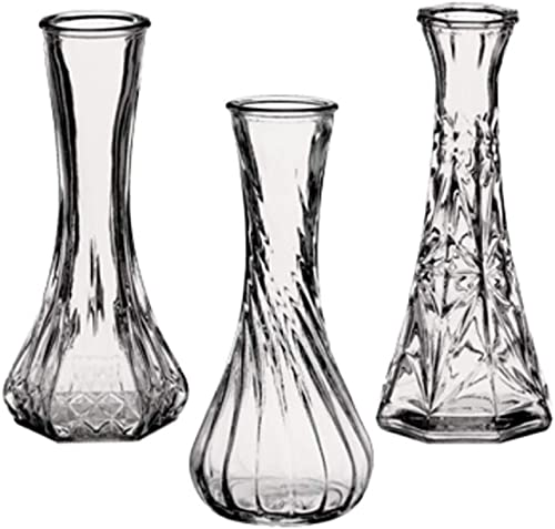 Floral Supply Online – Case of 16 Assorted Styles of 6 Petite Glass Bud Vases for Floral Arrangements, Weddings, Flowers, Home Decor or Office. Bulk Buy Quantities Available for Wholesale Prices