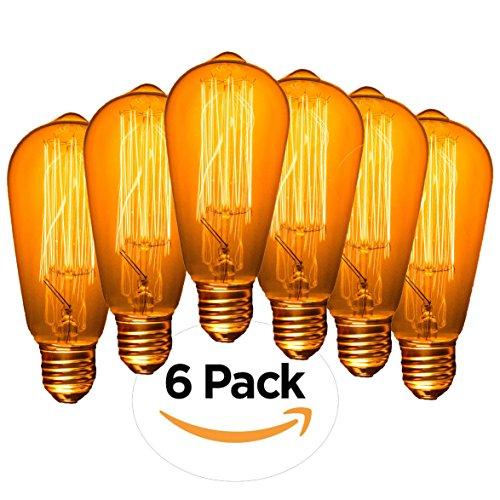 (Edison Bulb, Edison Light Bulbs, Edison Bulb 60W, Vintage Light Bulb, Antique Light Bulbs, Vintage Light Bulbs, Filament Light Bulbs, Vintage Bulbs, Edison Light Bulb, Vintage Edison Bulbs, Pack of 6)