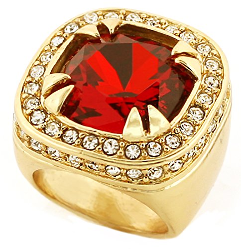 Gold Tone Synthetic Red CZ Stone Mens Rick Ross Hip Hop Style Ring (8) by GIFTS INFINITY