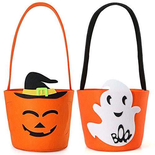 Halloween Candy Felt Jack O Lantern Pumpkin Style Basket, Bucket, Bag For Kids, Reusable and Convenient, Durable and Soft, Perfect for Carry Goodies and Gifts for Trick or Treat (2 Pack) - Cute Halloween Goody Bags
