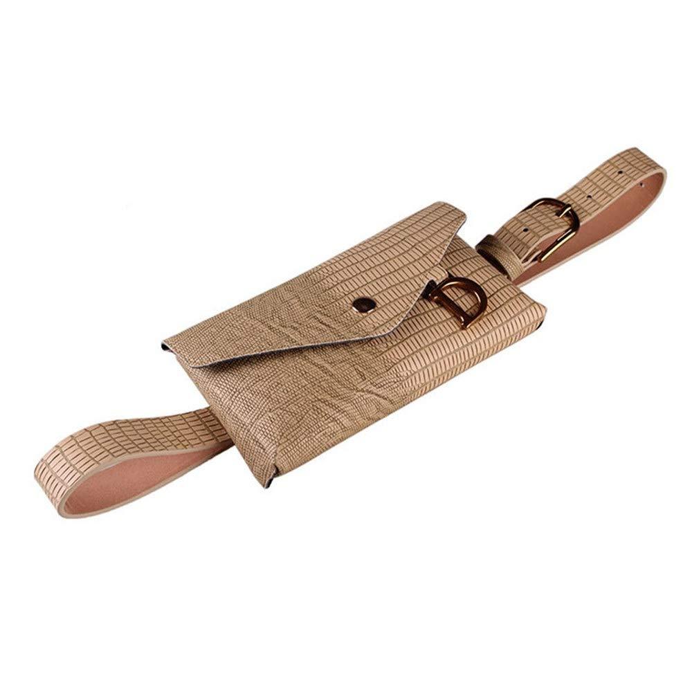 Color : Brown Hip Belt Bags Women Waist Bag Belt Bag D Letter Waterproof PU Fanny Pack Removable Belt with Waist Pouch Mini Purse Wallet Travel Outdoor Sport Bag Cell Phone Bag Men /& Women Slim