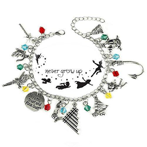 Peter Pan Jewellery - Peter Pan 11 Charms Lobster Clasp Bracelet in Gift Box by Superheroes