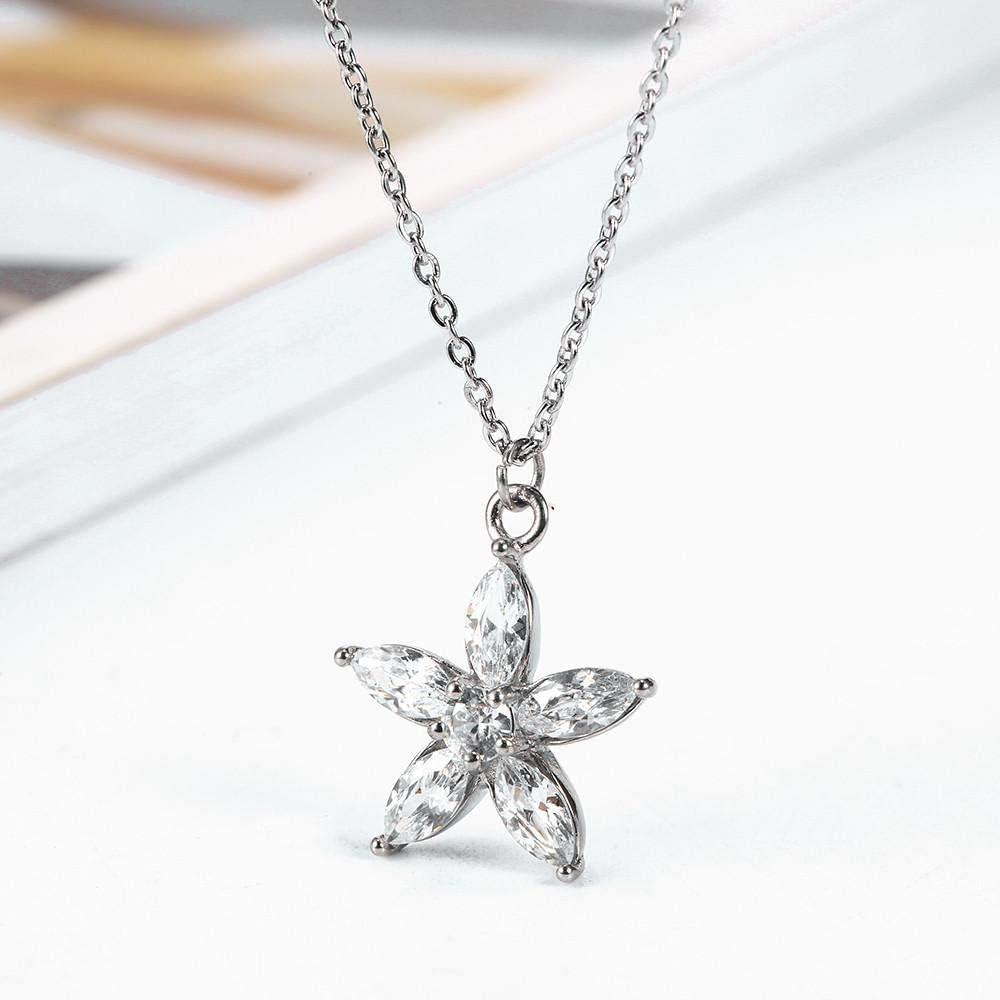 Collar Clásico Circón Corazón Apple Flor Collar Collar De Acero Inoxidable Collar De MujerColgantes Joyería