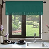 HOLKING Dark Green Blackout Circular Pattern Valances for Laundry Room Coverings Decor Ideas,1 Pack