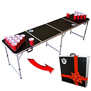 GoPong 8 Foot Portable Beer Pong / Tailgate Tables (Black, Football, American Flag, or Custom Dry Erase)