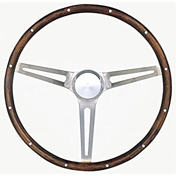 Grant 966-0 Classic Nostalgia Style Steering Wheel with Walnut Grip and Brushed Stainless Spokes