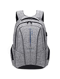 "Laptop Backpack 17 Inch with USB Charging Port Anti-Theft Pockets,Stylish Travel Business Backpack for Women Men,Slim College Daypack School Bag Computer Rucksack for Laptops Up to 17.3"",Grey"