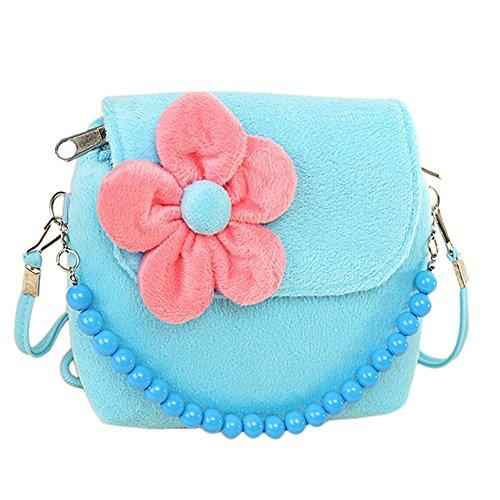 Monbedos Fashion Floral Handtasche Kinder Taschen Kindergarten Umhängetasche Geldbörse für kleine Mädchen Kleinkinder und Vorschüler (6Farben), rose, 14 x 12 x 4 cm Blau