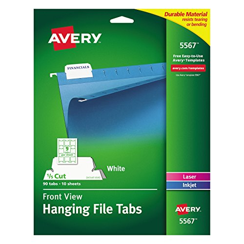 Avery 5567 Print/Write-On Hanging Tabs, 1/5 Tab, 2 1/16, White (Pack of 90) ()