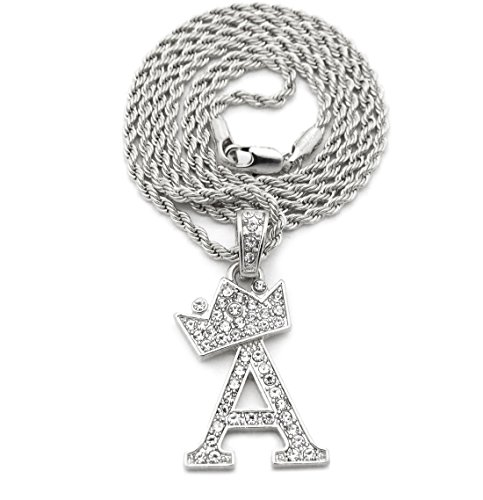 (Fashion 21 Unisex Small Size Pave Crown Tilted Initial Alphabet Letter Pendant 2mm 24