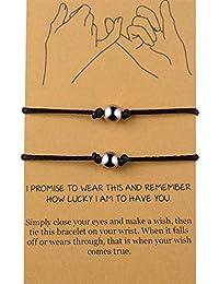 Distance Bracelets/Anklet for Best Friend Couples Friendship Bracelet Adjustable Waterproof Handmade Cord Relationship Bracelets for 2, Pinky Promise for Him and Her, Girlfriend Boyfriend