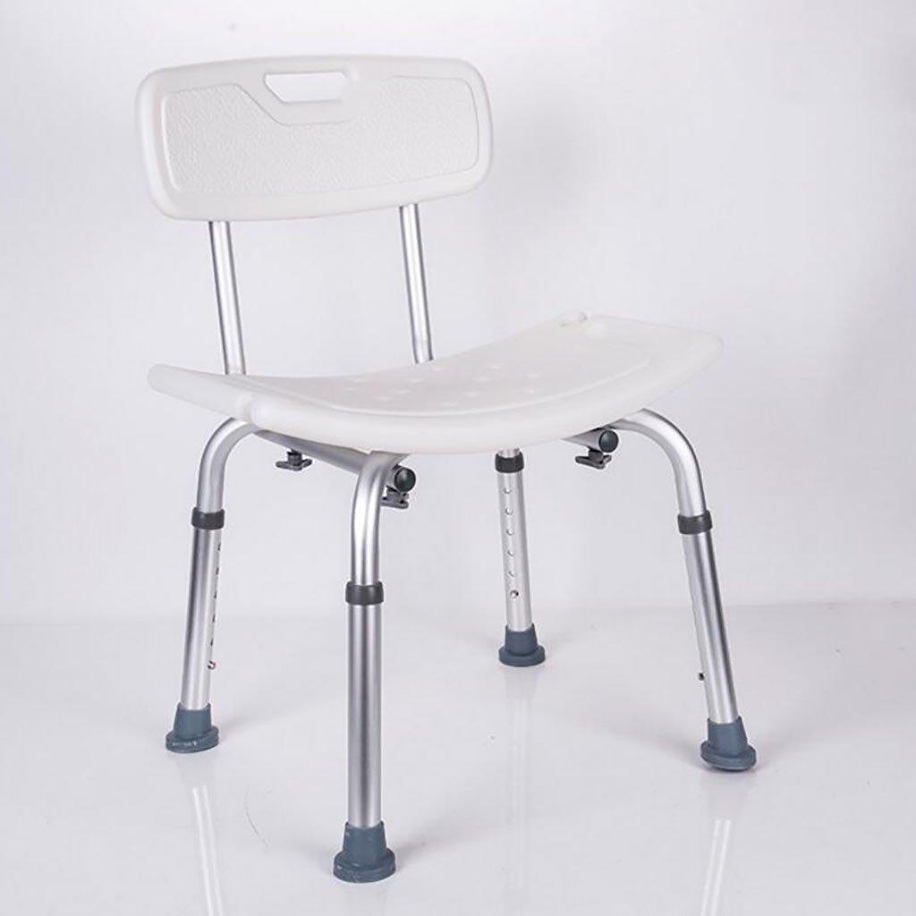 シャワースツール\シャワーチェア バスルームスツールアルミシャワーチェア障害援助ノンスリップバスチェア、身体障害者、妊婦、高さ調節可能 バスシートベンチ\バススツール B07DXVVS3J