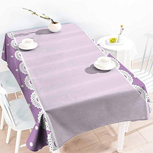 Homrkey Washable Table Cloth Mauve Decor Old Fashion Ornate Lace Pattern with Classical Polka Dots Background Image Lilac Lavender Washable Tablecloth W54 xL84 ()