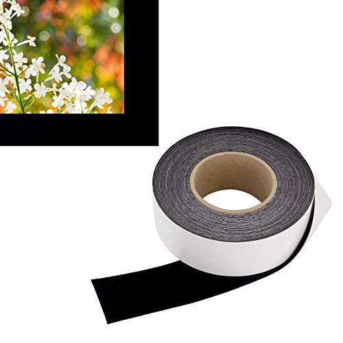 Fixed Velvet Frame Frame - 2 in x 60 ft - Vibrancy Enhancing Projector Felt Tape Border - by ConClarity - Deepest Black Ultra High Contrast Felt Tape for DIY Projector Screen Borders Absorbs Light, Brightens Image & Stops Bleed