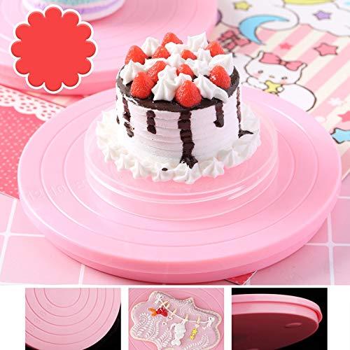 (Tofok Christmas 360 degree Rotating Turntable Cake Stand Round Dessert Revolving Swivel Platform DIY Baking Pastry Decor)