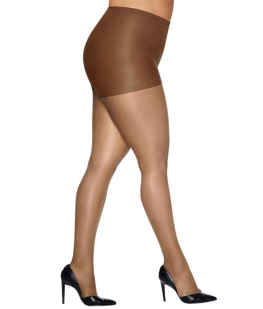 00d48f1e722 Hanes Silk Reflections Women's Plus-Size Control Top Enhanced Toe Tights,  Barely Black, 6 Plus: Amazon.ca: Clothing & Accessories