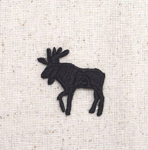 1x Piece of Small Left Moose Black Silhouette Wild Animal Iron on Applique/Embroidered Patch