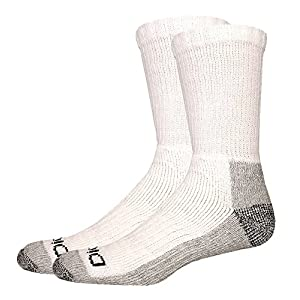 Dickies Men's 2 Pack Steel Toe Crew Socks - Big & Tall, White/Gray, 13-15 Sock/12-15 Shoe