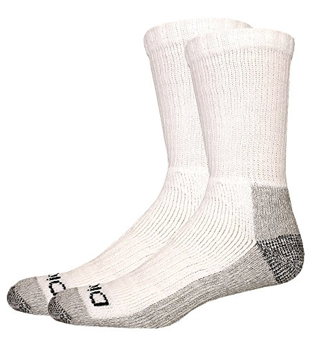 Dickies Men's 2 Pack Steel Toe Crew Socks - Big & Tall, White/Gray, 13-15 Sock/12-15 Shoe (White Uniform Socks Toe)
