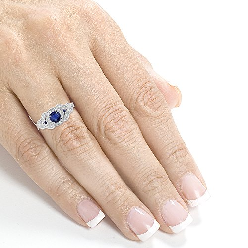Antique Milgrain Sapphire and Diamond Engagement Ring 1 Carat (ctw) in 14k White Gold, Size 7 by Kobelli (Image #4)
