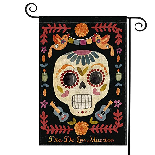 AVOIN Sugar Skull Garden Flag Vertical Double Sized, Dia De Los Muertos Day of The Dead Halloween Burlap Yard Outdoor Decoration 12.5 x 18 Inch