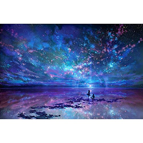 Diamond Painting Full Drill Square 5D DIY Blue Night Sky Rhinestone Gems Embroidery Arts Craft Adults' Children's Paint-by-Number Kits Cross Stitch for Home Wall Decoration 12X17.5 inches