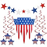 PBPBOX 4th of July Decorations Pennant Banner 24 Feet, 6 Foil Swirls Hanging Decorations, 9 Star Cutouts