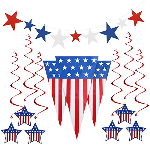 Glimmer Swirl - 4th of July Decorations Includes Pennant Flags 24 Feet, 6 Foil Hanging Swirls, 9 Star Cutouts for Patriotic Decoration Independence Day Party Supplies