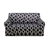 Deconovo Trellis Print Sofa Slipcover Spandex Stretch Strapless Black Loveseat Sofa Cover for Couch