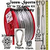 """Heavy Duty 70' Indoor/Outdoor Cable Kit for Baseball Softball Batting Cage Net with 3/8"""" Turnbuckles, 3/16"""" cable clamps, and zinc carabiners"""