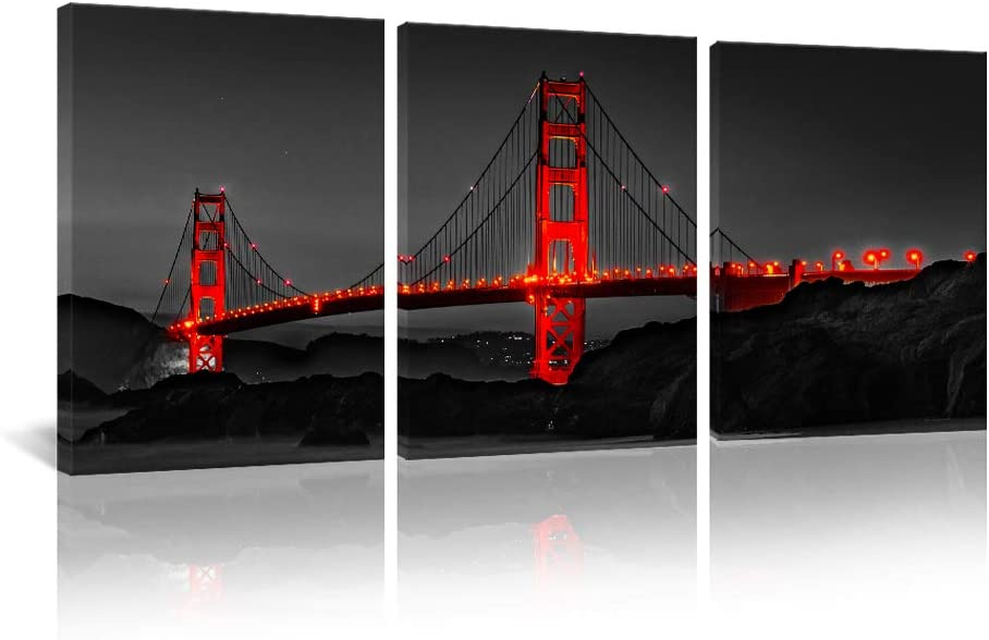 Black and Red Landscape Canvas Wall Art Decor Prints Golden Gate Bridge San Francisco Giclee Artwork for Office Living Room Bedroom Decoration Poster Picture Framed Ready to Hang 16