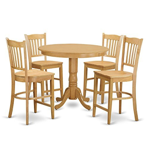 (East West Furniture TRGR5-OAK-W 5 Piece Pub Table and 4 Counter Height Dining Chair Set)