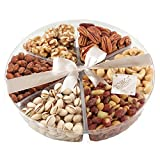 Broadway Basketeer's Gourmet Food Fresh Nuts Tray 6 Section Assortment Round Holiday Gift Basket